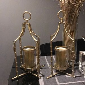 Other - Set of 4 Gold Bamboo  Candle Holders with candles